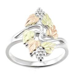Black Hills Gold On Sterling Silver Grape Leaf Ring