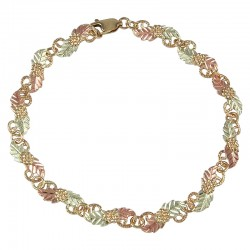 Tri-color Black Hills Gold Grapes And Leaves Bracelet