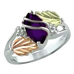 Landstrom's® Sterling Silver & Gold Amethyst February Birthstone Ring