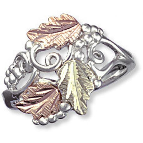 Landstrom's® Sterling Silver Grape Vine & 12k Gold Leaves Ring