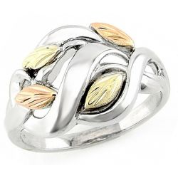 Stylish Tri-Color Black Hills Gold on Sterling Silver Leaf Ring