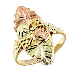 Landstroms Ladies Black Hills Gold Ring with Leaf and Grapes
