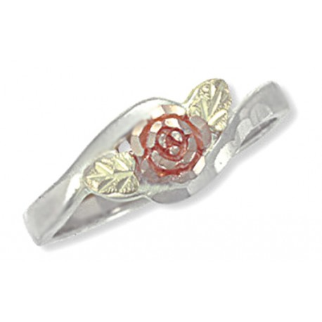 Landstrom's® Gold Rose and Leaves on Sterling Silver Ring