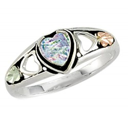 Landstrom's® 12K Gold Leaves on Sterling Silver Lab Opal Ring