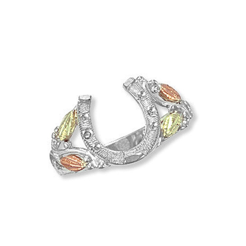 landstrom s 174 sterling silver horseshoe ring with 12k gold