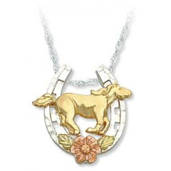 Black Hills Gold Sterling Silver Horse Shoe Horse Pendant Necklace