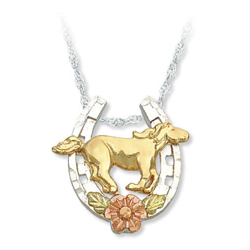 Landstroms 10k gold horse on sterling silver horse shoe pendant black hills gold sterling silver horse shoe horse pendant necklace aloadofball Gallery