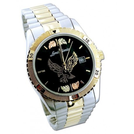 Black Hills Gold Men's Black Dial Eagle Watch with Gold Trim