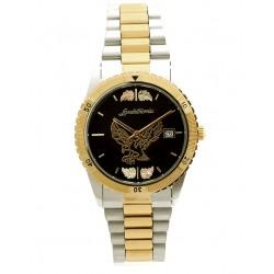 Black Hills Gold Men's Black Dial Eagle Watch with Gold Trim