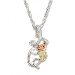 Black Hills Gold Sterling Silver Ladies .05 Tw Diamond Pendant Necklace