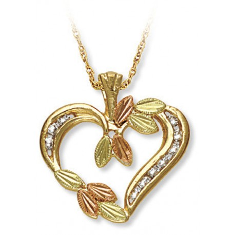 10K BLACK HILLS GOLD LADIES .20 TW DIAMOND HEART PENDANT NECKLACE