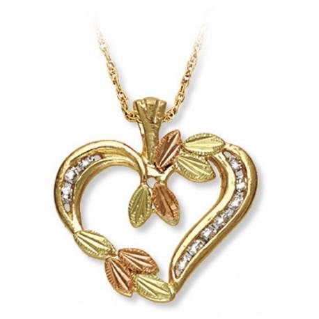 10K BLACK HILLS GOLD LADIES .20 TW DIAMOND HEART PENDANT NECKLACE