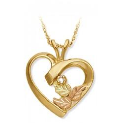 Landstrom's® Tri-tone Black Hills Gold Diamond Heart Pendant