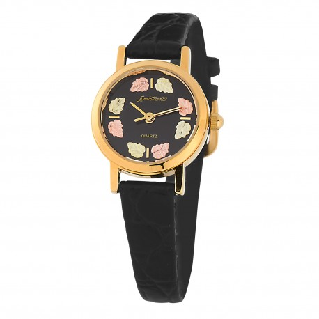 Landstrom's® Ladie's Black Face Watch with Leather Band and 12K Gold Leaves