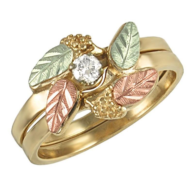 Tri Color 10k Black Hills Gold Wedding Ring Set Mount Only
