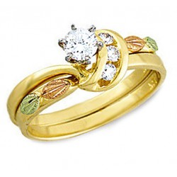 14K Black Hills Gold  .34TW Diamond Wedding Set