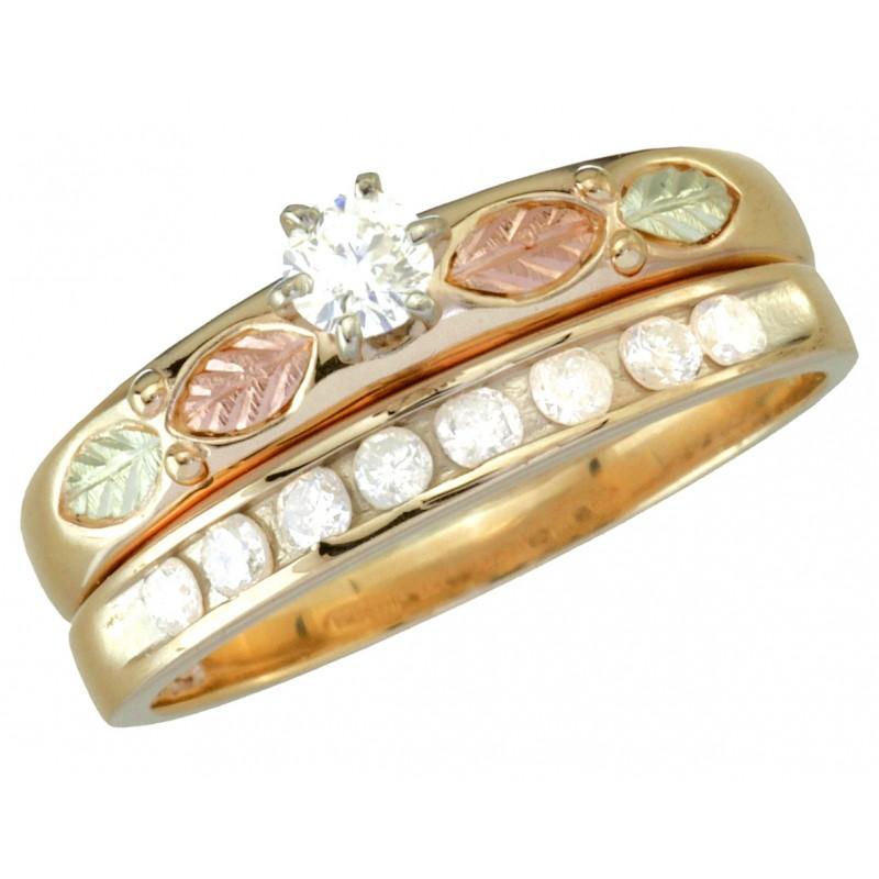 Exquisite Black Hills Gold Diamond Engagement Wedding Ring Set
