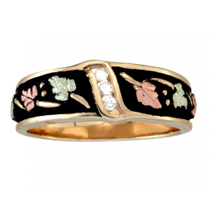 Black Hills Gold Men's Antiqued .06tw Diamond Wedding Ring