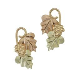 10k Black Hills Gold Grape On Vine Post Earrings