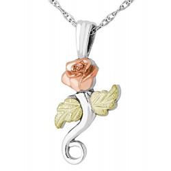 Black Hills Gold on Sterling Silver Rose Pendant with Necklace