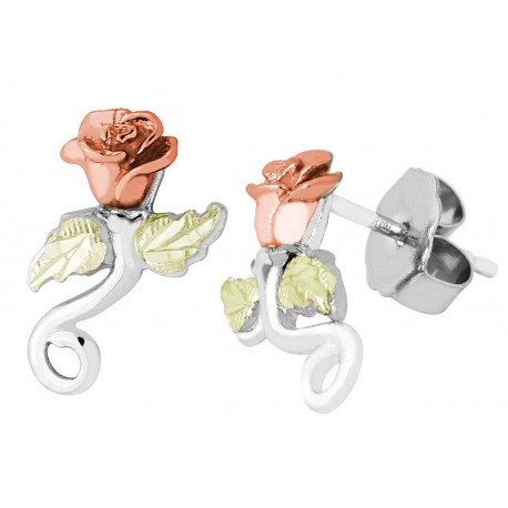 Landstrom's Black Hills Gold on Sterling Silver Rose Earrings