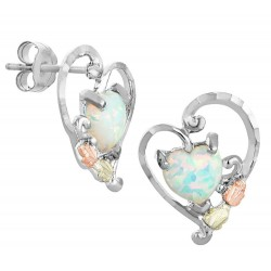 Black Hills Gold on Sterling Silver Heart Opal Earrings