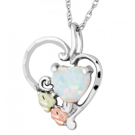 Black Hills Gold on Sterling Silver Heart Pendant with Opal