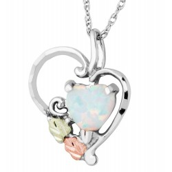 Landstrom's Black Hills Gold on Sterling Silver Heart Pendant with Opal