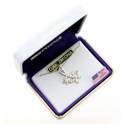 Black Hills Gold on Sterling Silver Dragonfly CZ Pendant by Landstrom's®