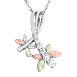 Landstrom's Black Hills Gold on Sterling Silver Dragonfly Pendant w CZ