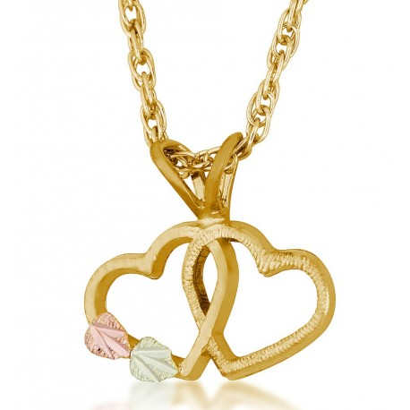 Landstrom's 10K Black Hills Gold Double Heart Pendant