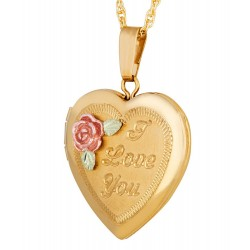 Landstrom's Black Hills Gold-Filled I Love You Heart Locket Pendant