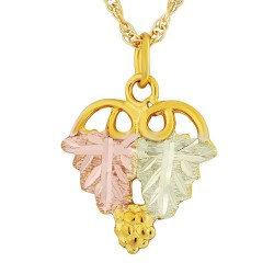 Landstrom's 10K Black Hills Gold Small Grape Leaf Pendant