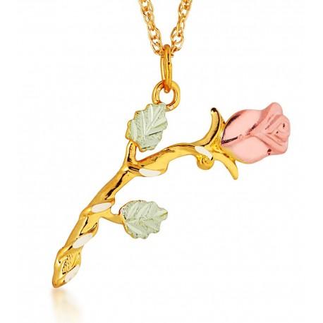 Landstrom's 10K Black Hills Gold Rose Pendant