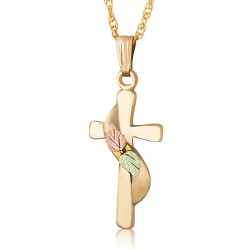 Landstrom's 10K Black Hills Gold Cross Pendant with Leaves