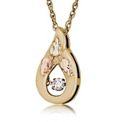 Landstrom's Black Hills Gold Pendant with Glimmer Style Dancing Diamond
