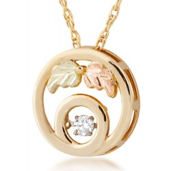 10K Black Hills Gold Glimmer Diamond Round Pendant By Landstrom's