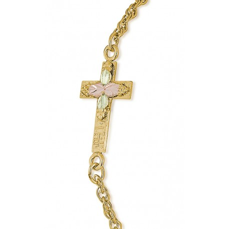 Landstrom's 10K Black Hills Gold Cross on Gold-Filled Bracelet