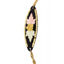 Landstrom's 10K Black Hills Rose on Black Powder Coated Charm Gold-Filled Bracelet