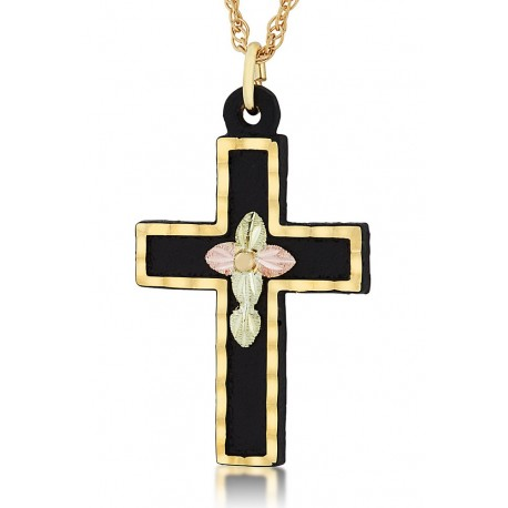 Landstrom's Black Hills Gold Black Powder Coated Cross Pendant