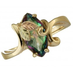 Coleman 10K Black Hills Gold Mystic Fire Topaz Ring Size 8