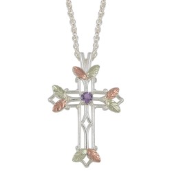 Choose up to 7 Family Birthstones - Black Hills Gold on Sterling Silver Cross Pendant