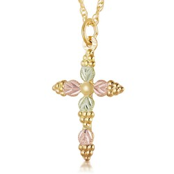 Landstrom's® 10K Black Hills Gold Grapes and Leaves Cross Pendant