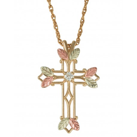 Choose up to 7 Family Birthstones - Black Hills Gold Cross Pendant by Coleman