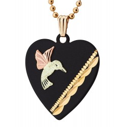 Landstrom's® Black Powder Coated Heart Pendant w/ Black Hills Gold Hummingbird