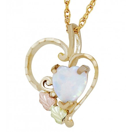 Landstrom's®10K Black Hills Gold Heart Pendant with Opal