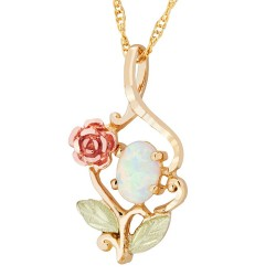 Landstrom's® 10K Black Hills Gold Pendant with Rose and Opal