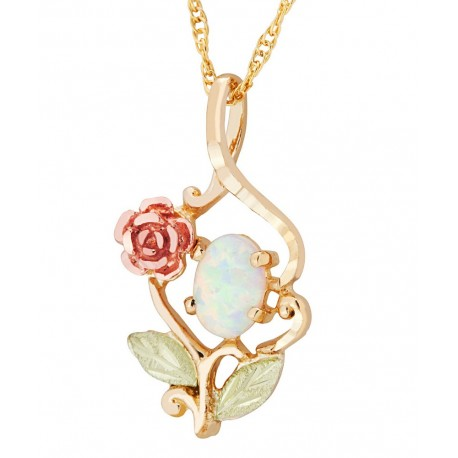 Landstroms 10k black hills gold pendant with rose and opal landstroms 10k black hills gold pendant with rose and opal aloadofball Image collections