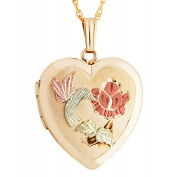 Landstrom's® Black Hills Gold Filled Heart Locket with Hummingbird