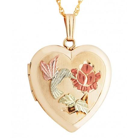 Landstrom's® Black Hills Gold Filled Heart Locket with Hummingbird